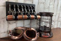 Steampunk Quadruple-gang Steel Light Switch Cover