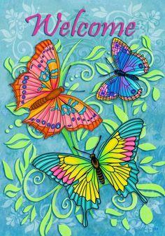 """Small 12 1//2/"""" x 18/"""" Bird Butterflies Welcome Spring Theme Garden Art Flag New Pk"""