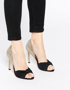 Image 1 of Faith Falcon Gold Shimmer Bow Peep Toe Heeled Shoes