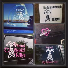 Oilfield Wife/Life car decals. DecalThat.com Rig Welder, Wife Day, Oilfield Wife, Daddy's Home, Organic Gardening Tips, Car Decals, Rigs, Oil Field, Marriage