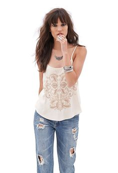 Abstract Embroidered Cami | FOREVER21 - 2000123129