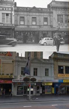 George Street, Sydney in circa 1942 and [ Street View/by Phil Harvey] Phil Harvey, Australian Road Trip, Then And Now Photos, Historical Images, History Photos, Road Trips, Geography, Old Photos, 1940s