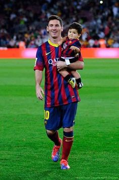 Lionel Messi and his son. Messi is one of the greatest football players in the world! Cutest baby evr!