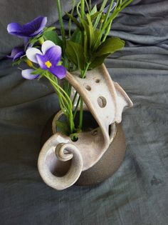 Wild Flower Vase, with dusk purple glaze and black mountain clay. This has the sexiest curves to it's frog. Two levels to put flowers in. Looks amazing with or without flowers. And I'm just not saying that cause I made it. Pottery by Sally Anne Stahl