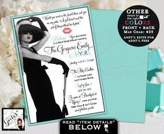 Breakfast at Tiffany's bridal shower invitation, Audrey diamonds pearls, little black dress, Audrey quote and picture, double sided 5x7. #babyshowerideas4u #birthdayparty #babyshowerdecorations #bridalshower #bridalshowerideas #babyshowergames #bridalshowergame #bridalshowerfavors #bridalshowercakes #babyshowerfavors #babyshowercakes