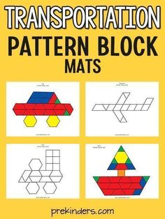 You'll love these transportation-themed pattern block mats! PreKinders has already designed for you these pattern block sheets and all you have to do it click print! You'll love these for your transportation theme. Transportation Preschool Activities, Transportation Unit, Math Activities, Preschool Lesson Plans, Preschool Printables, Preschool Math, Preschool Education, Preschool Christmas, Maths