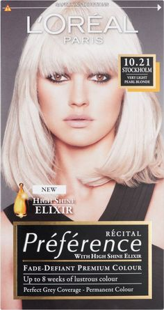 Find fantastic prices on L'Oreal Recital Preference Stockholm Very Light Pearl Blonde and other permanent hair dye when you shop at Allcures. Blonde Box Dye, Blonde Hair Shades, Loreal Preference Hair Color, Locks, Superior Hair, Pearl Blonde, Stockholm, Light Ash Blonde, Icy Blonde
