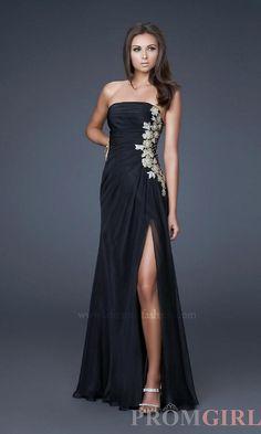 Strapless Evening Gowns, La Femme Strapless Long Dress- PromGirl