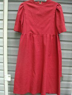 wOMAN'S aMISH MENNONITE bib old fashioned reenactment dress red large civil war hand made