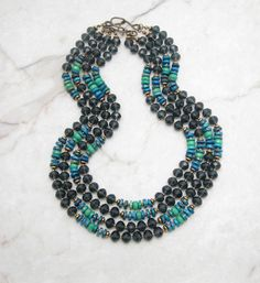 Statement Necklace.Turquoise Necklace.Chunky Necklace.Bohemian Necklace.Boho Necklace.Multi Strand Necklace.Hippie Necklace. SPIRITED
