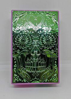 Fujima Purple/Green Skull King Size Push-N-Open Button Cigarette Case