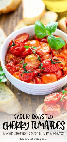 These Garlic Roasted Cherry Tomatoes are ready just 30 min and only need 5 ingredients! Enjoy the best roasted tomatoes you have ever eaten! Potato Side Dishes, Healthy Side Dishes, Side Dishes Easy, Vegetable Side Dishes, Side Dish Recipes, Vegetable Recipes, Pasta Recipes, Vegan Recipes, Healthy Sides