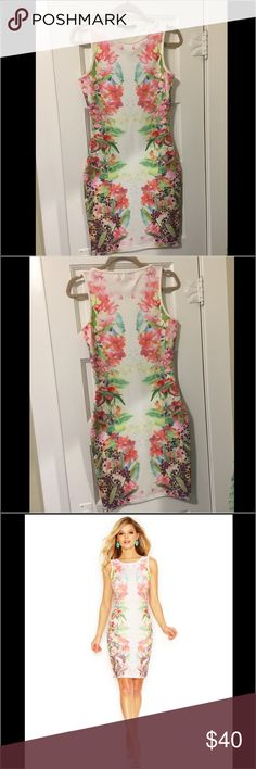 Guess by Marciano Floral Rhinestone Dress! Women's White Rhinestone Floral-Print Shift Dress! Size Small and only worn once. Like brand new! Guess by Marciano Dresses Midi