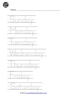 The Very Hungry Caterpillar Theme: Free Days of the Week Printables an Preschool Homework, Preschool Writing, Free Preschool, Preschool Printables, Free Math, Preschool Learning, Kids Homework, Learning Activities, Teaching Kids