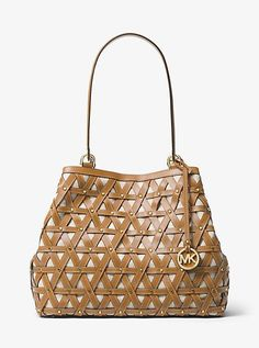 Trendy Women's Bags : Picture Description Brooklyn Large Leather And Canvas Tote by MICHAEL Michael Kors. The Brooklyn Tote Boasts Artisanal Appeal In An Expansive Silhouette Crafted From Canvas And Topped With Smooth Cheap Michael Kors, Michael Kors Tote Bags, Ribbed Dress, Handbag Stores, Designer Totes, Designer Handbags, Leather Weaving, Canvas Tote Bags, Canvas Totes