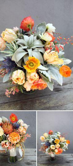 desert wedding floral with air plants Orange Wedding Flowers, Brown Flowers, Pretty Flowers, Floral Wedding, Wedding Bouquets, Wedding Color Schemes, Wedding Colors, Wedding Decor, Wedding Ideas