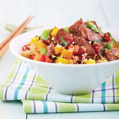 Beef Stir-Fry  Sure to appear on your weekly menu over and over again, this simple-to-prepare stir-fry boasts incredible depth of flavor and is on the table in 15 to 20 minutes!  .... 377calories