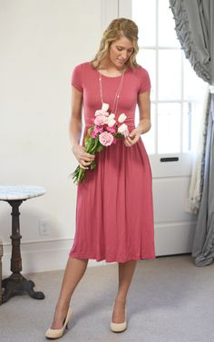 The Emily. A light weight cotton midi dress in pink with a ruffled waist band. Modest Outfits, Modest Fashion, Pink Mountains, Pink Sale, Bridesmaid Dresses, Wedding Dresses, Stay Warm, Boutique Clothing, Modest Apparel