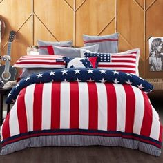 Wolala Home 100% Cotton Reactive Printed American Flag Manufacturing Home Textile 4pcs Bed Sets Simple Fashion Stripe Duvet Cover Bedding Set (Full)