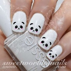 Panda Nail Art Cute Panda Face Nail Water Decals Water Slides - Beauty Home Nail Art Cute, Nail Art Diy, Easy Nail Art, Diy Nails, Cute Nails, Panda Nail Art, Animal Nail Art, Farm Animal Nails, Niedlicher Panda