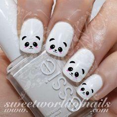 Panda Nail Art Cute Panda Face Nail Water Decals Water Slides - Beauty Home Nail Art Cute, Nail Art Diy, Easy Nail Art, Diy Nails, Cute Nails, Kawaii Nail Art, Panda Nail Art, Animal Nail Art, Farm Animal Nails