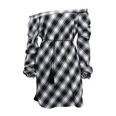 Off the Shoulder Plaid Print Curved Mini Dress ($21) ❤ liked on Polyvore featuring dresses, black, off the shoulder short dress, long-sleeve mini dress, sleeved dresses, print dress and long sleeve dress