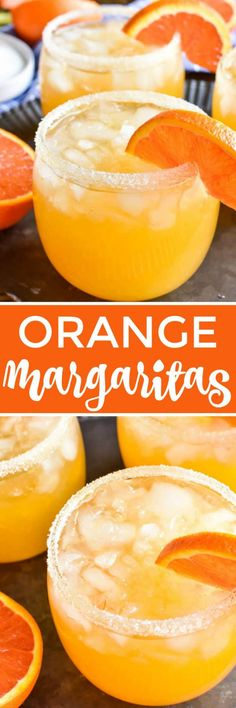 Orange Margaritas are guaranteed to get the party started! Perfect for your next happy hour, ladies' night, or taco Tuesday, this simple margarita recipe is a delicious twist on a classic. It's easy to make - with just four ingredients - and packed with a Party Drinks, Cocktail Drinks, Fun Drinks, Healthy Drinks, Cocktail Recipes, Alcoholic Drinks, Cocktail Ideas, Cocktail Shaker, Mixed Drinks
