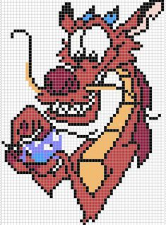 Home made pixel art based on this picture from the web : www.edu& Mulan belongs to Disney You can use it as a cross stitch pattern : * 50 x 68 stitches * 8 colours Don. Perler Bead Disney, Perler Bead Art, Perler Beads, Disney Cross Stitch Patterns, Cross Stitch Designs, Cross Stitching, Cross Stitch Embroidery, Paper Embroidery, Disney Stich