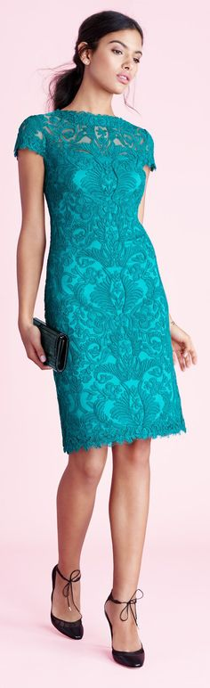 Tadashi Shoji blue turquoise lace dress women fashion outfit clothing style apparel @roressclothes closet ideas www.womenswatchhouse.com