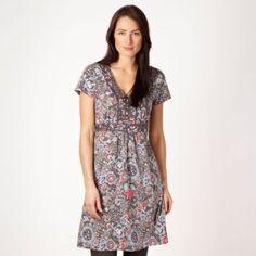 665cc4e5ef27f2 Mantaray Grey sketched floral jersey dress- at Debenhams Mobile