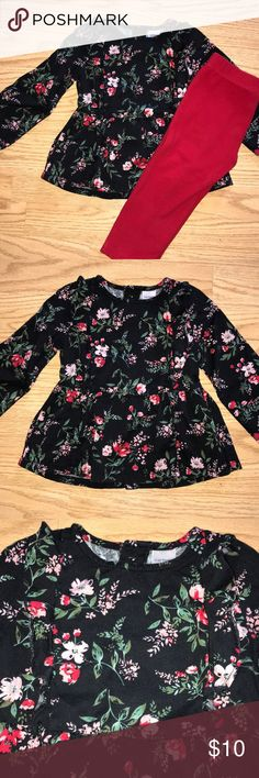 Carter's Matching Set 24M Adorable floral top with ruffles on the chest and buttons all the way down the back. Comes with matching red pants. Excellent condition! Smoke-free Pet-free home.   Bundle and Save!!! Carter's Matching Sets