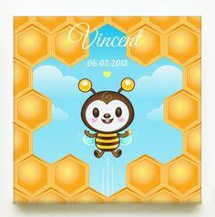 Kinderkamerdecoraties - Print op canvas 'Honingbijtje' - Een uniek product van Tirzaworld op DaWanda
