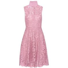 Valentino Sleeveless Lace Dress (47.139.180 IDR) ❤ liked on Polyvore featuring dresses, lace, pink, lacy dress, pink dress, pink lace cocktail dress, no sleeve dress and valentino dress