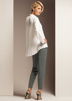 fde8894d480 Lafayette148 Outfits Matte Silk Dalena Blouse and Stretch Wool Stanton Pant  Normcore