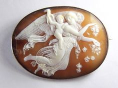 ANTIQUE VICTORIAN ITALIAN SILVER NATURAL SHELL CAMEO BROOCH EOS GODDESS of DAY