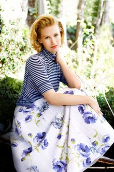 January Jones #mad_men #fashion stripes and florals