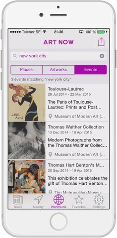 Special feature #221: Art Now also has a searchable events listing. Its shown to the far right on both Nearby and Worldwide search, as well as at each museum page. #events #artnow #art #instagram #museum #painting #artwork #purple #newapp