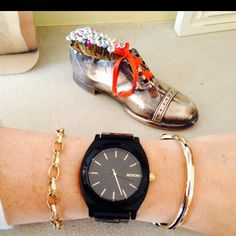 Black & Gold Nixon by Linda Personal Taste, Black Gold, Bracelet Watch, November, Jewellery, Watches, Bracelets, Accessories, Style
