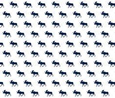Moose// Navy on White fabric by littlearrowdesign on Spoonflower - custom fabric