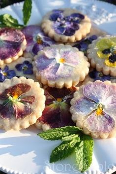 Pansy petal shortbread biscuits -- I love, love, love shortbread. It's essentially butter, flour and sugar. Pretty, too. What's not to love?