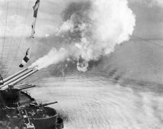 A salvo is fired from #3 turret of USS New Mexico BB-40. MaritimeQuest - Seaman 1st Class Elmer Alfred Bishop, USNR Collection Page 2