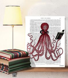 The Intelligent Octopus  Octopus Poster print by DottyDictionary