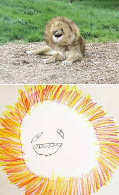 Dad Turns His Son's Drawings Into Reality And The Results Are Both Creepy And Hilarious Funny Animal Jokes, Funny Animals, Cute Animals, Funny Kid Drawings, Animal Drawings, Cute Memes, Really Funny Memes, Memes Lindos, Cute Animal Videos