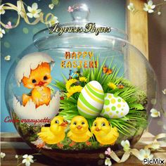 Birthday Wishes Gif, Beautiful Birds, Happy Easter, Easter Eggs, Snow Globes, Cool Pictures, Creations, Animation, Wallpaper