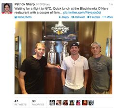 Hmm....his fans look familiar.... Patrick Kane, Patrick Sharp, & Jonathan Towes  Chicago Blackhawks Sochi 2014