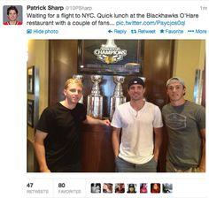 Hmm....his fans look familiar.... Patrick Kane, Patrick Sharp, & Jonathan Towes  Chicago Blackhawks Sochi 2014