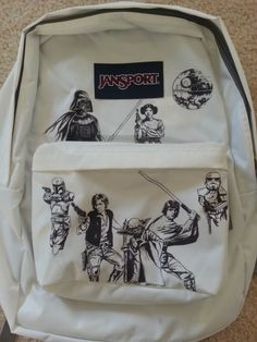 White and Black Star Wars Themed Jansport Backpack by BRINKADINK