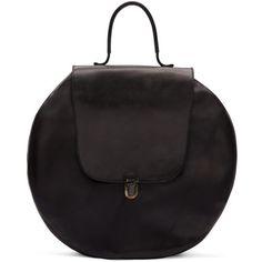 Cherevichkiotvichki Black Circle Lock Bag ($795) ❤ liked on Polyvore featuring bags, handbags, shoulder bags, black, distressed handbags, circular handbag, circle handbag, circle purse and kiss-lock handbags