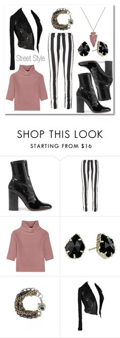 """""""Street Style"""" by lilyboutique ❤ liked on Polyvore featuring Valentino, Off-White, Allude, Kendra Scott, StreetStyle, black and LilyBoutique"""