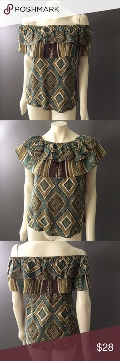 """Gorgeous CATTLELAC RANCH Off Shoulder Blouse Top S A gorgeous blouse! Can be worn on or off shoulder! Fabulous muted southwestern pattern. Pullover . Excellent, as new condition. 100% rayon. Machine wash. Bust 36"""". Underarm to hem down side 15"""". Cattlelac Ranch Tops Blouses"""